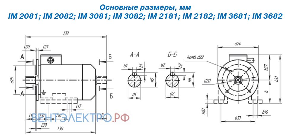 Присоединительные размеры с фланцем или комбинированное IM3081, IM2081