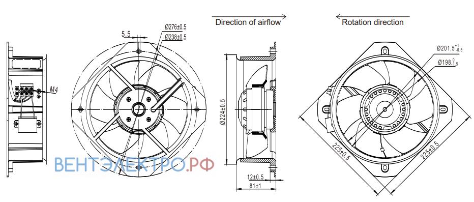 Габаритные размеры Fans-tech AR200A1-AF5-00 осевой AC