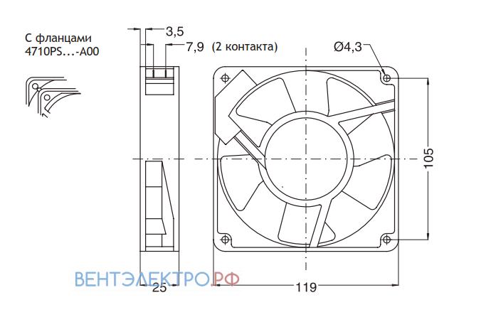 Установочные размеры и габариты NMB 4710PS-23T-B10-A00