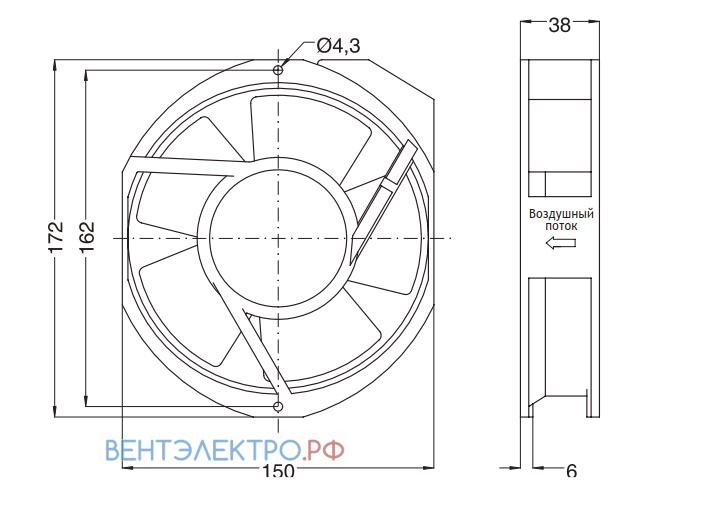 Установочные размеры и габариты NMB 5915PC-23T-B30-A00