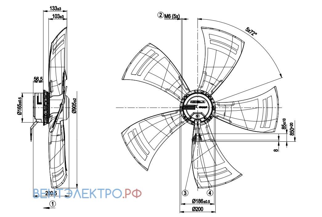 Ebmpapst A3G910 характеристики, параметры, подбор вентилятора