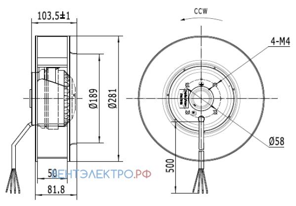 Габаритные размеры CF280B-2E-AC0