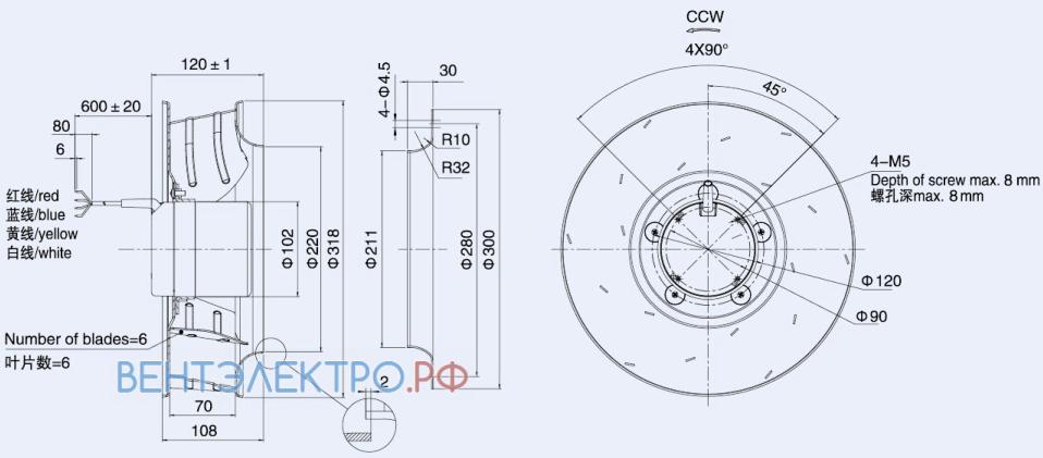 Габаритные размеры Weiguang DC102-50C3G01-B310-70A1-01