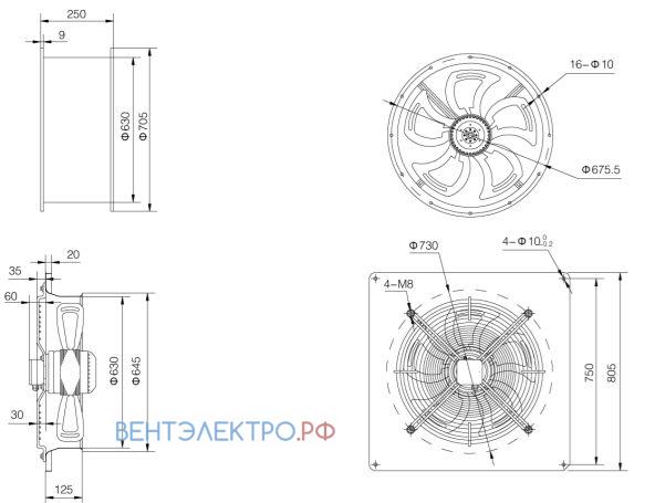 2. Монтажные размеры Weiguang YWF исполнение решетка