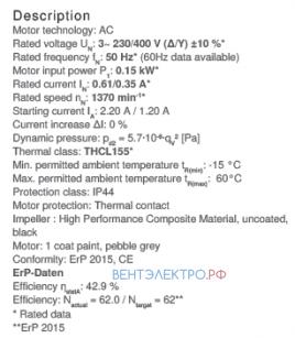 Рабочие параметры RH31V-4DK.2C.1R
